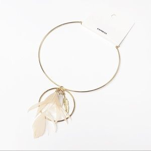 Express • Gold & Feather Hoop Necklace